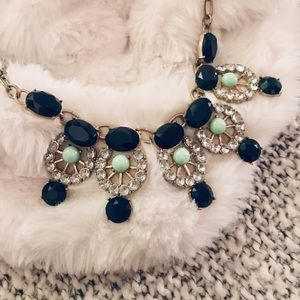 J. Crew Navy & Teal Crystal Statement Necklace